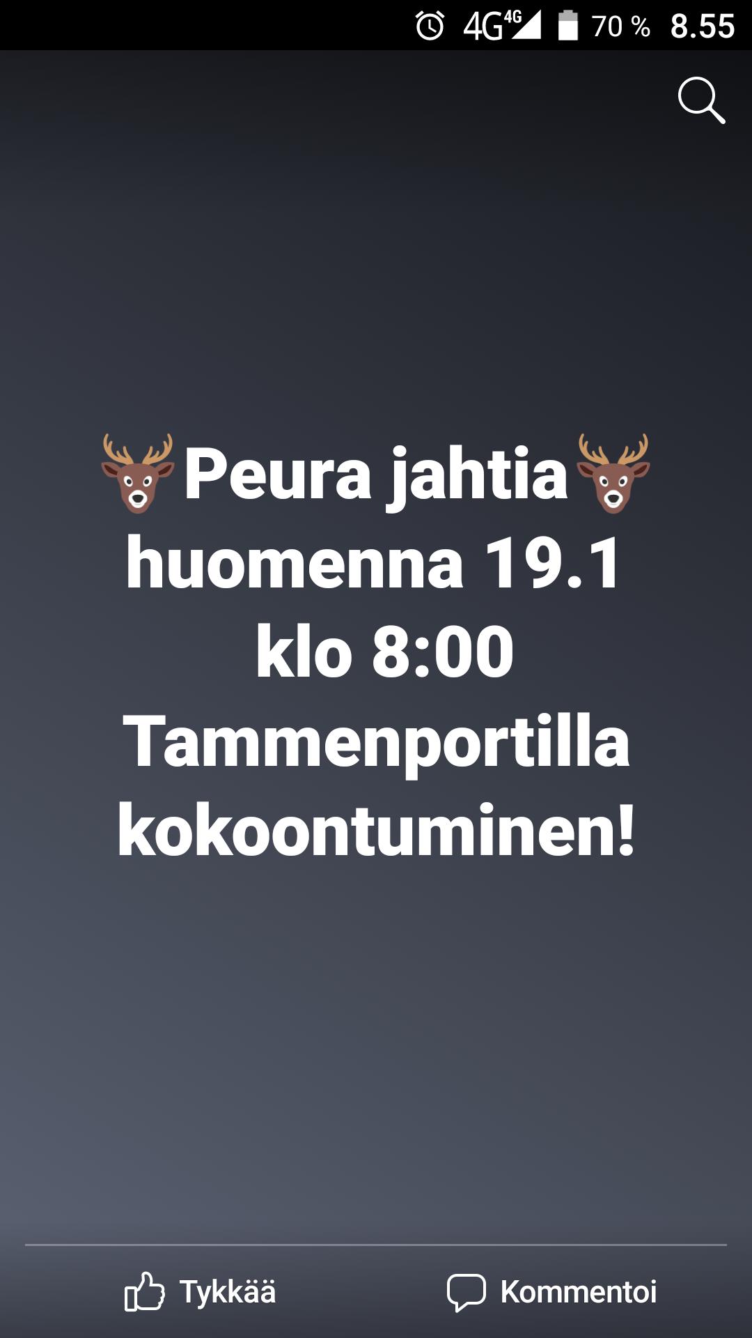 Peura Jahtia la 19.1 klo 8:00